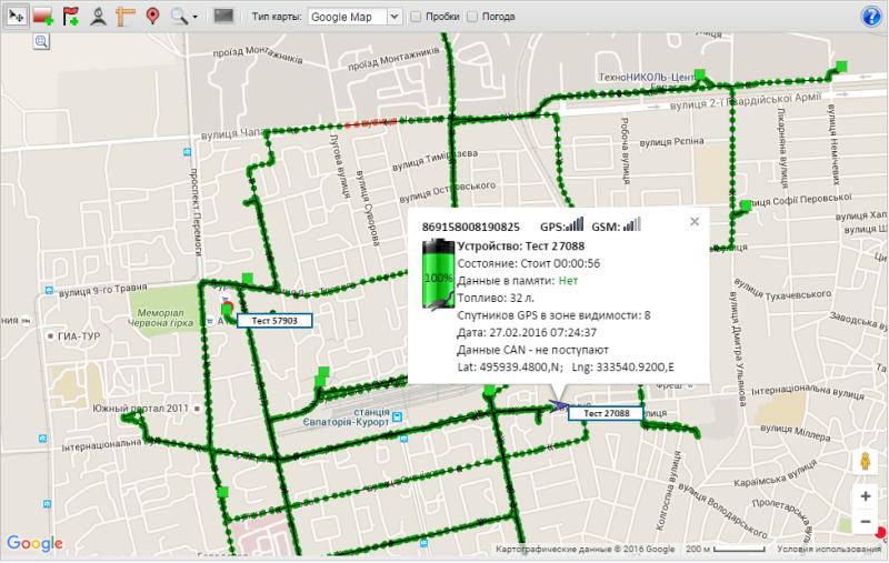 Карта ГПС сервиса