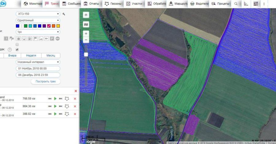 GPS мониторинг сельхозтехники - обработки поля